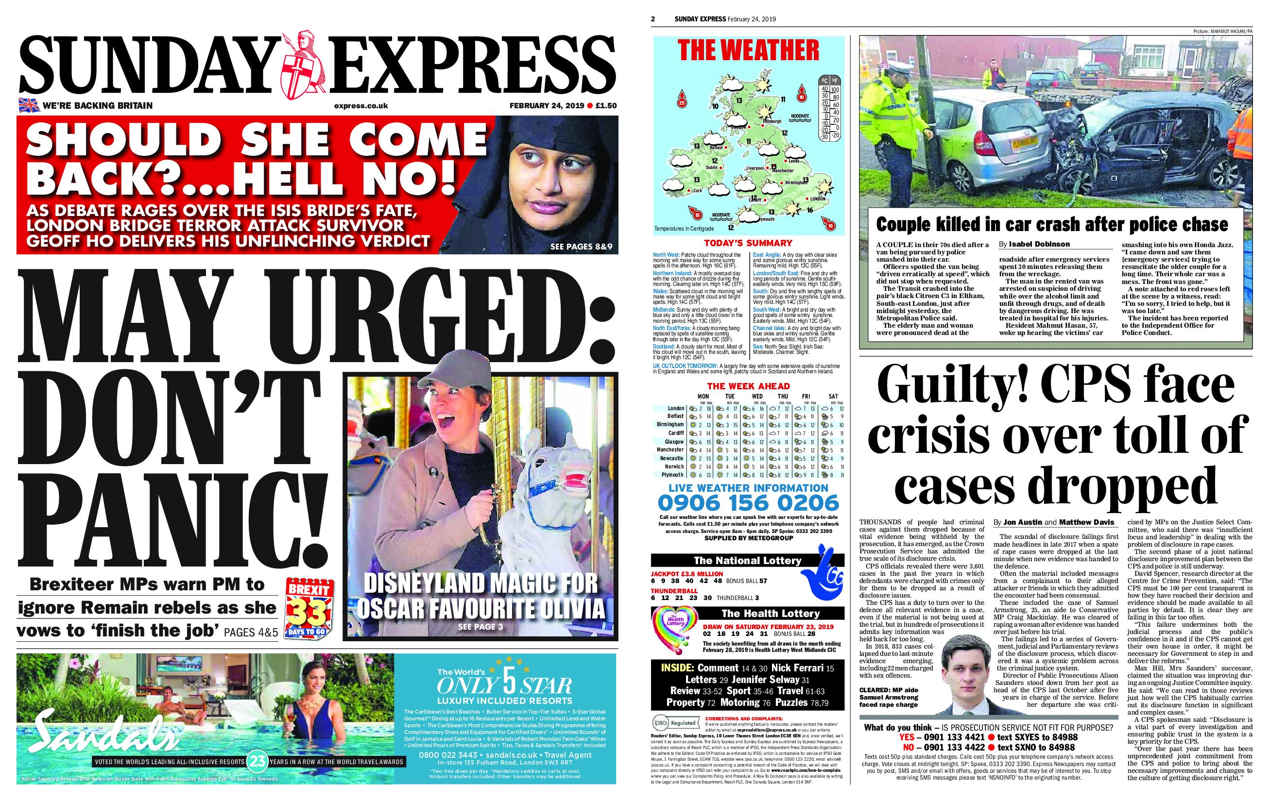 Daily Express – February 24, 2019 / AvaxHome