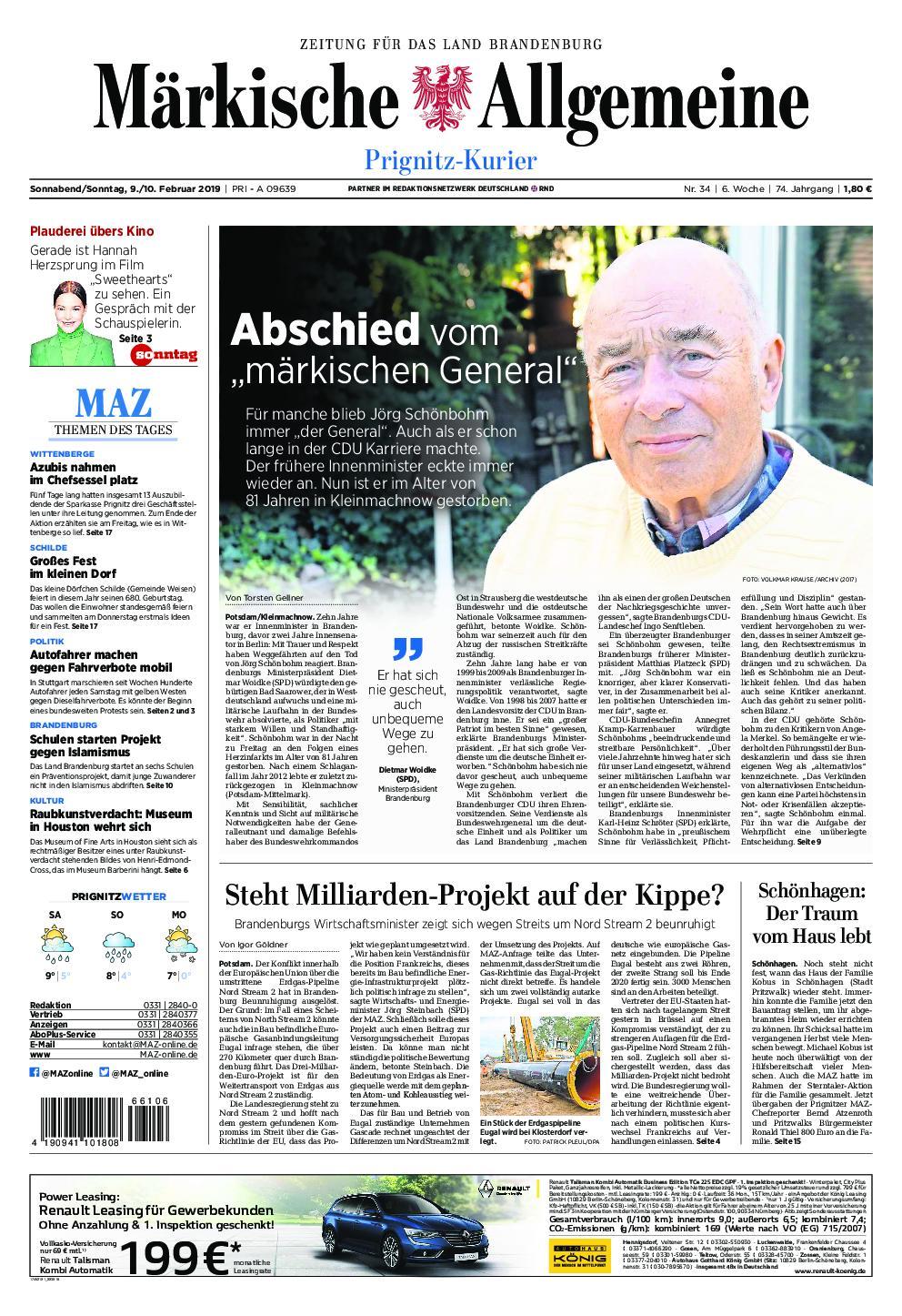 Märkische Allgemeine Prignitz Kurier - 09. Februar 2019