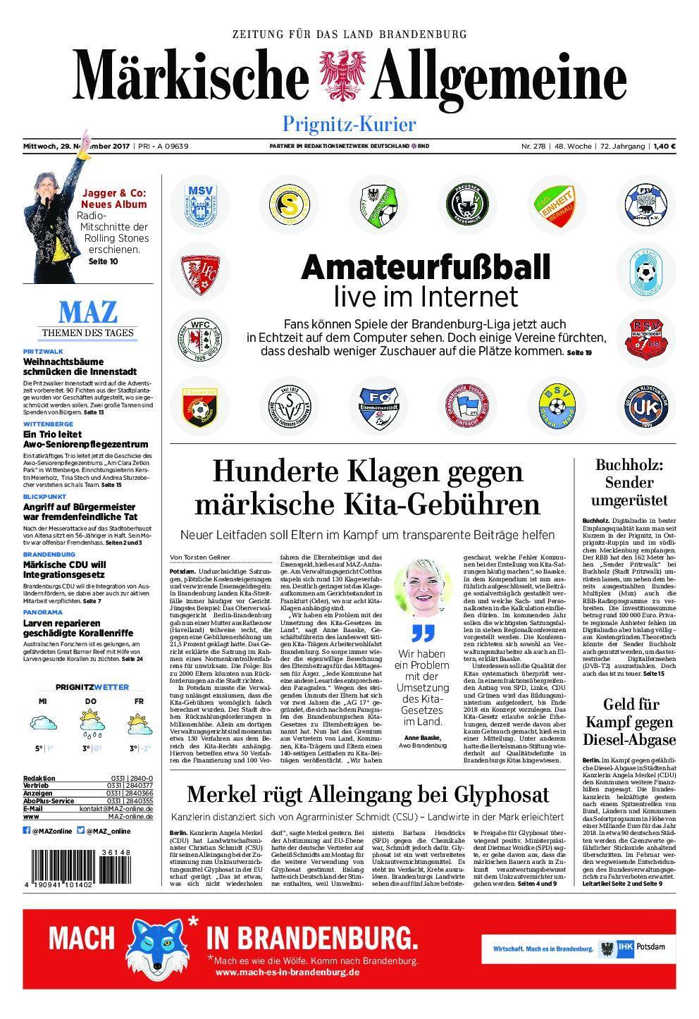 Märkische Allgemeine Prignitz Kurier - 29. November 2017