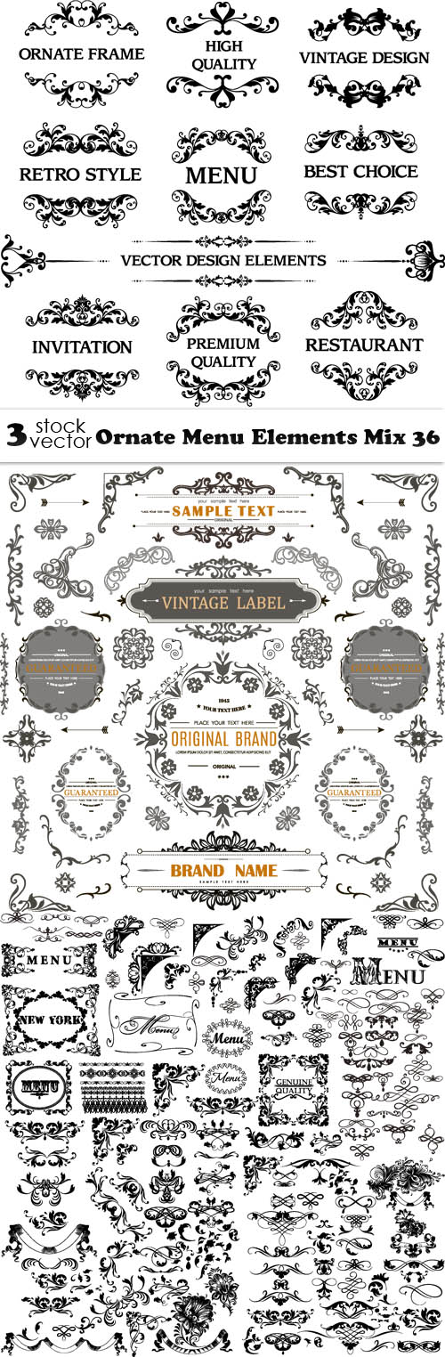 Vectors - Ornate Menu Elements Mix 36