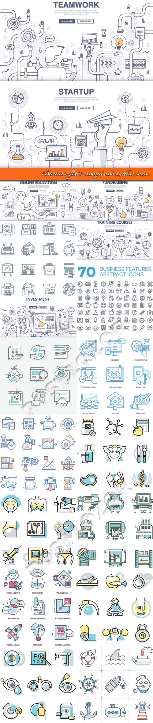 Business flat concept and outline icons vector
