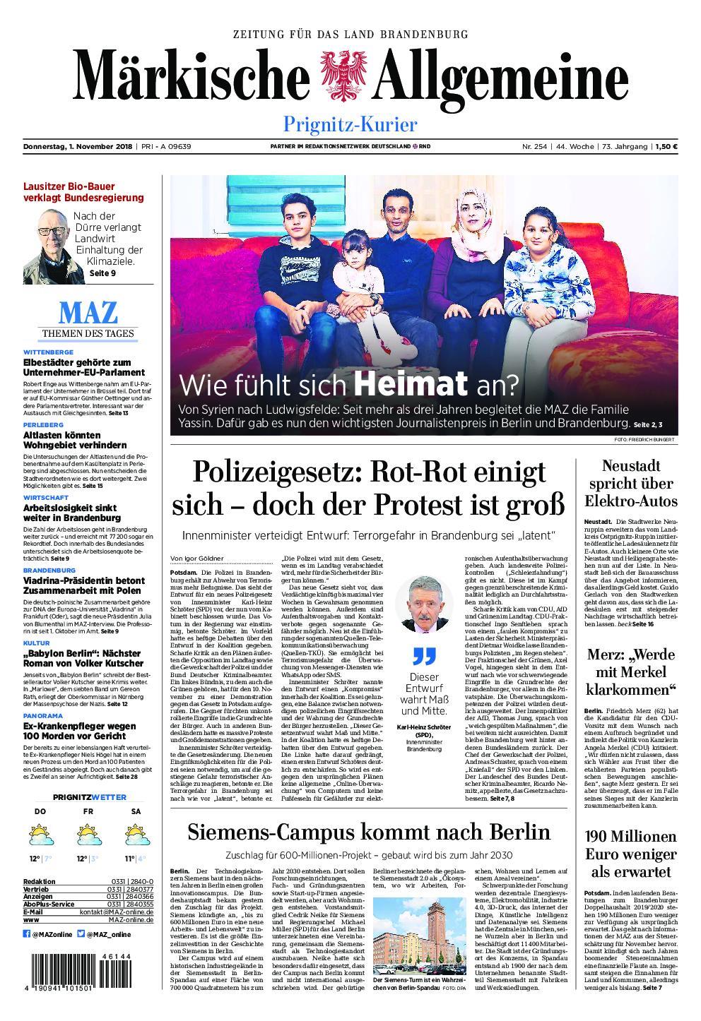 Märkische Allgemeine Prignitz Kurier - 01. November 2018