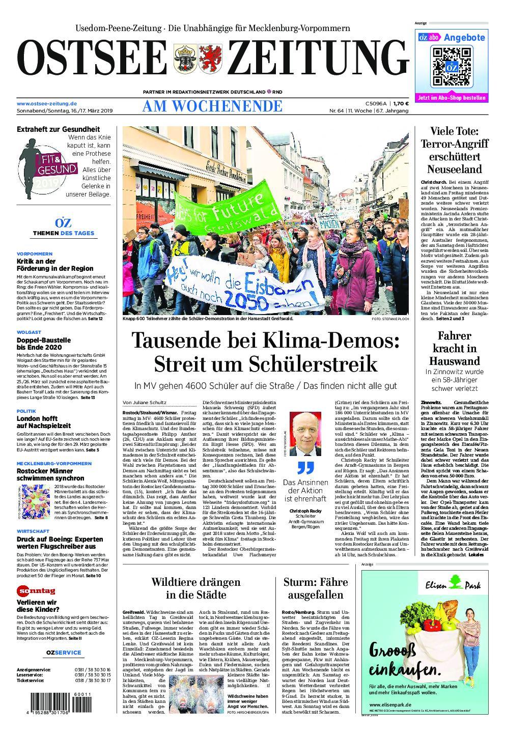 Ostsee Zeitung Wolgast - 16. März 2019