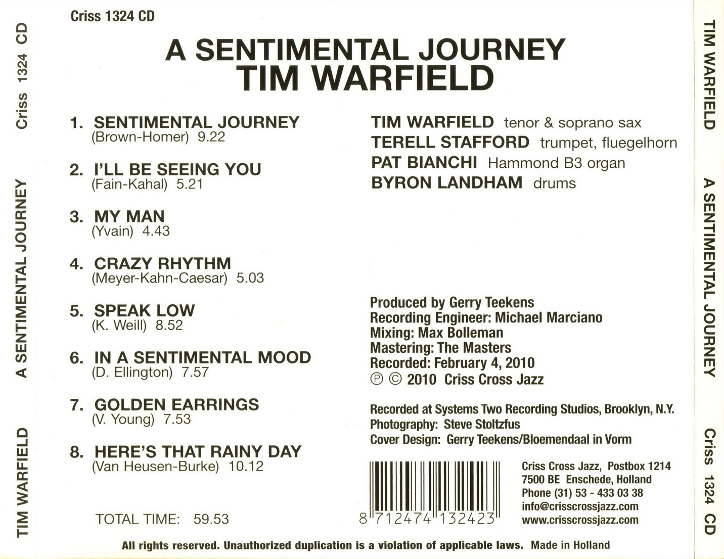 Tim Warfield - A Sentimental Journey (2010)