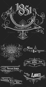 Vintage Ornaments and Brushes Vector Set 3