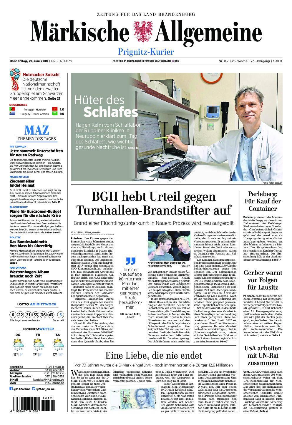 Märkische Allgemeine Prignitz Kurier - 21. Juni 2018
