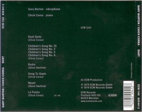 Gary Burton / Chick Corea - Duet (1979) {ECM 1140}