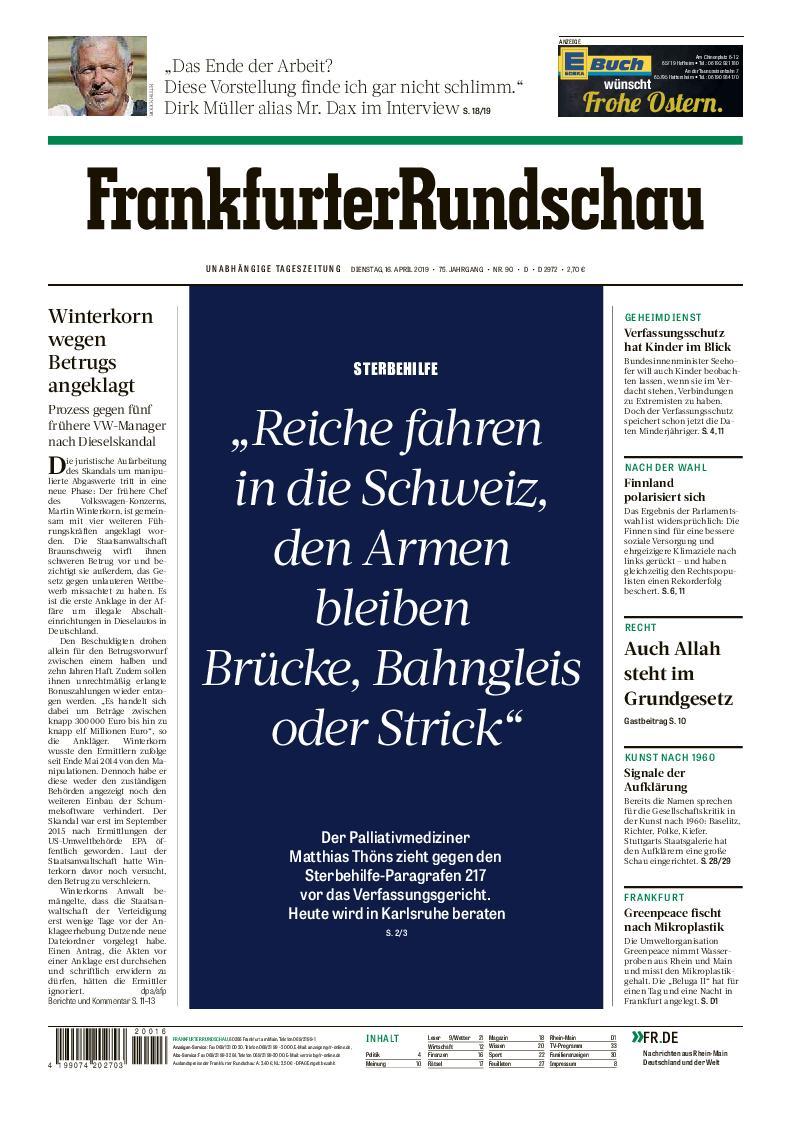 Frankfurter Rundschau Stadtausgabe - 16. April 2019