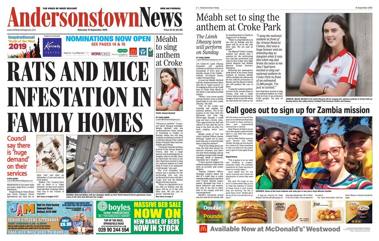 Andersonstown News – September 14, 2019