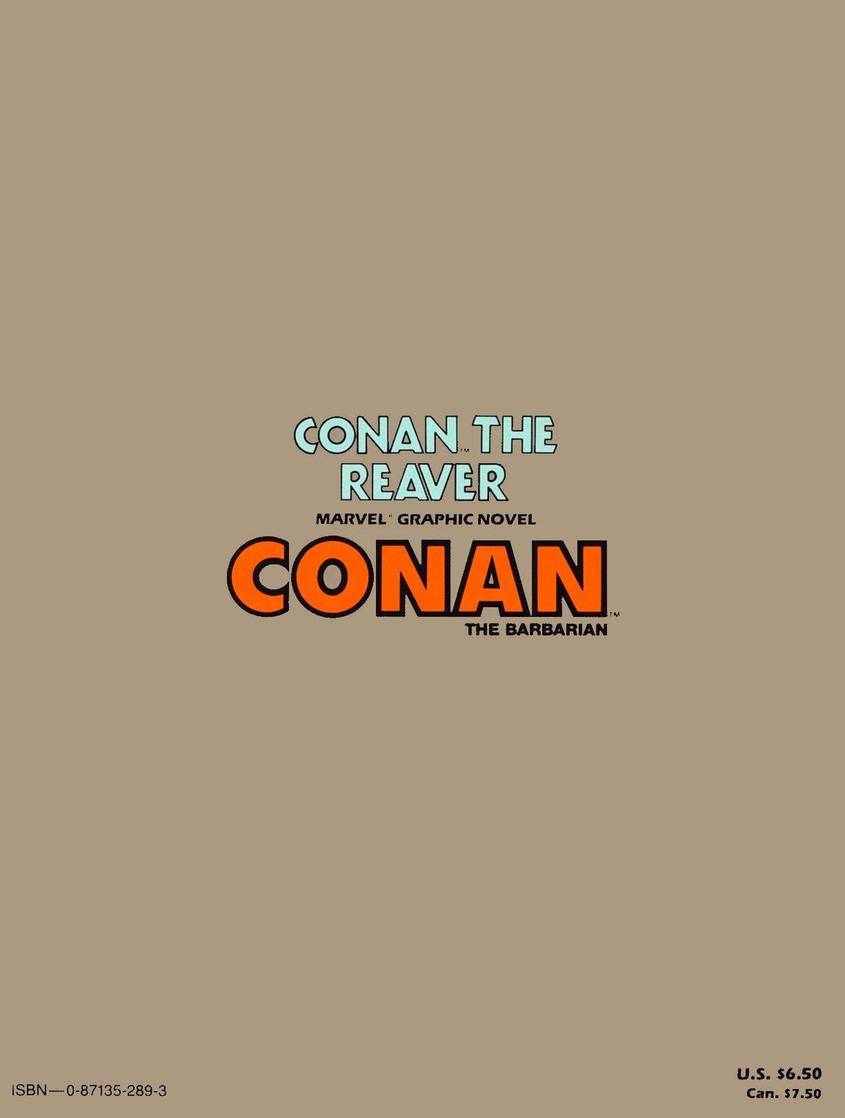 Marvel Graphic Novel 28 - Conan The Reaver 1987