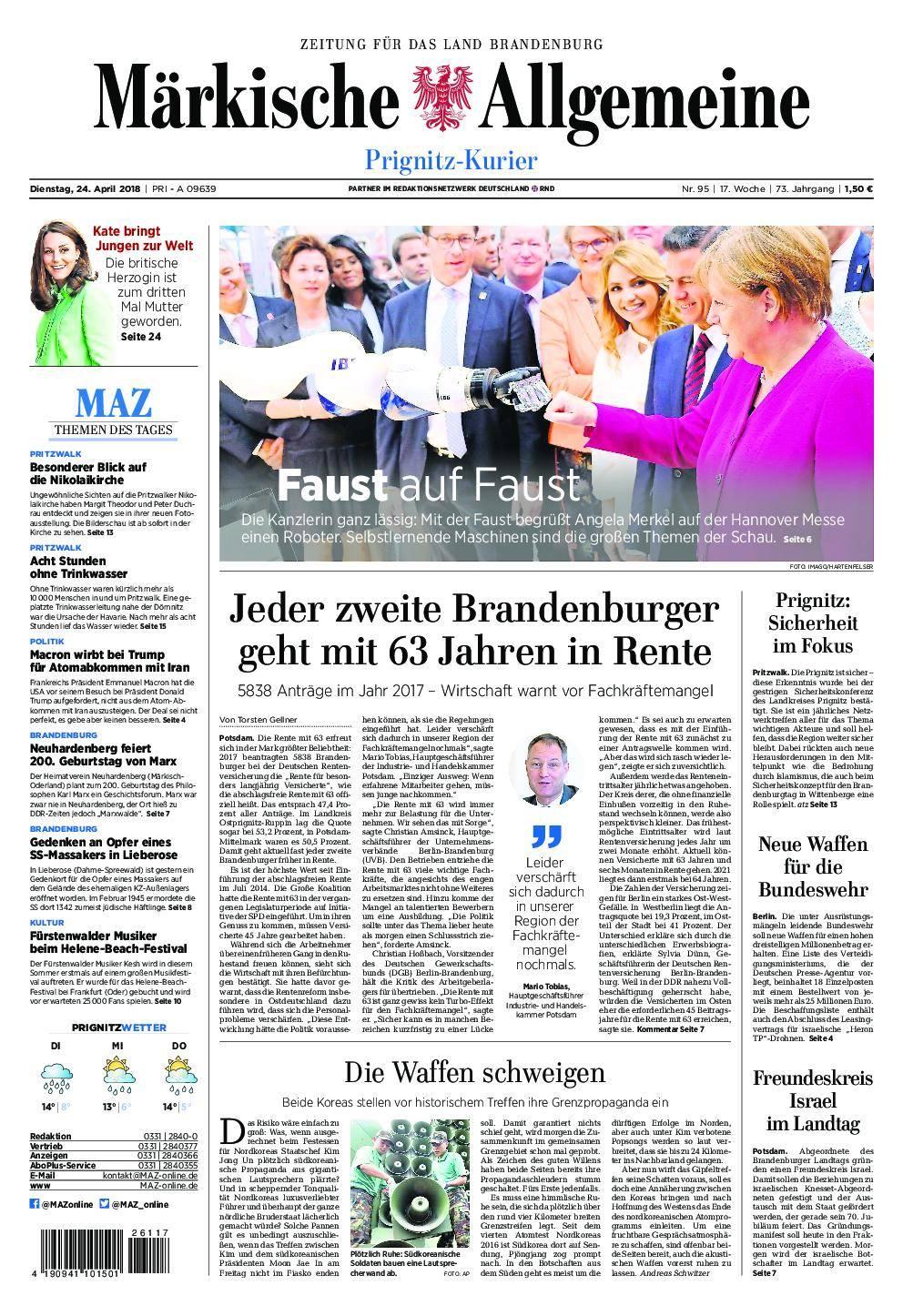 Märkische Allgemeine Prignitz Kurier - 24. April 2018