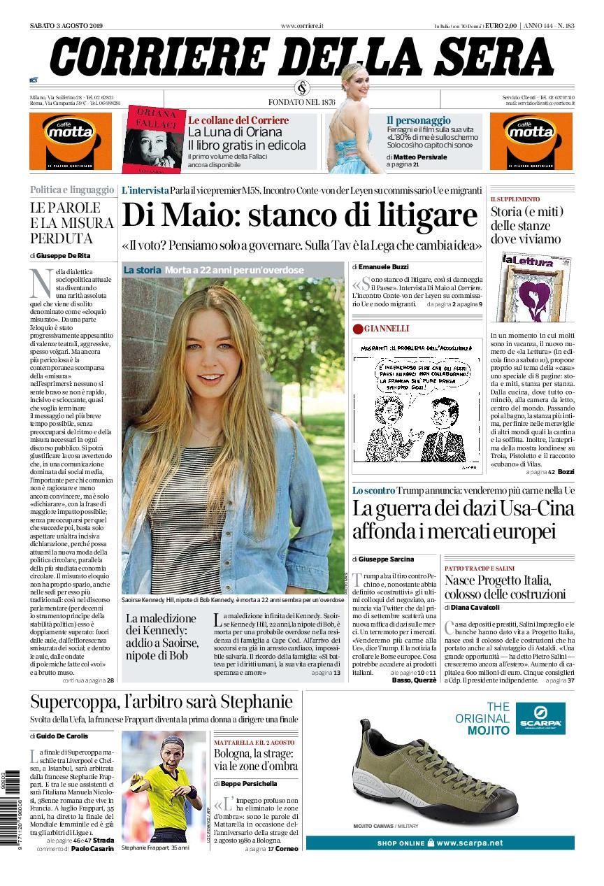 Corriere della Sera – 03 agosto 2019