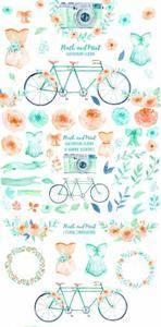 CreativeMarket - Wedding Clipart Peach and Mint