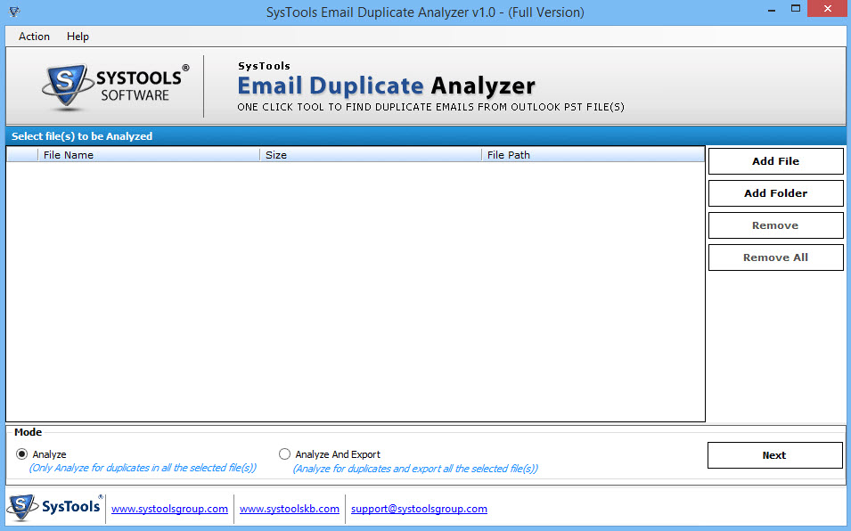 SysTools Email Duplicate Analyzer 1.0
