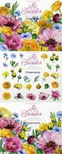 CM - My Garden Watercolor Floral Clip art 1164700