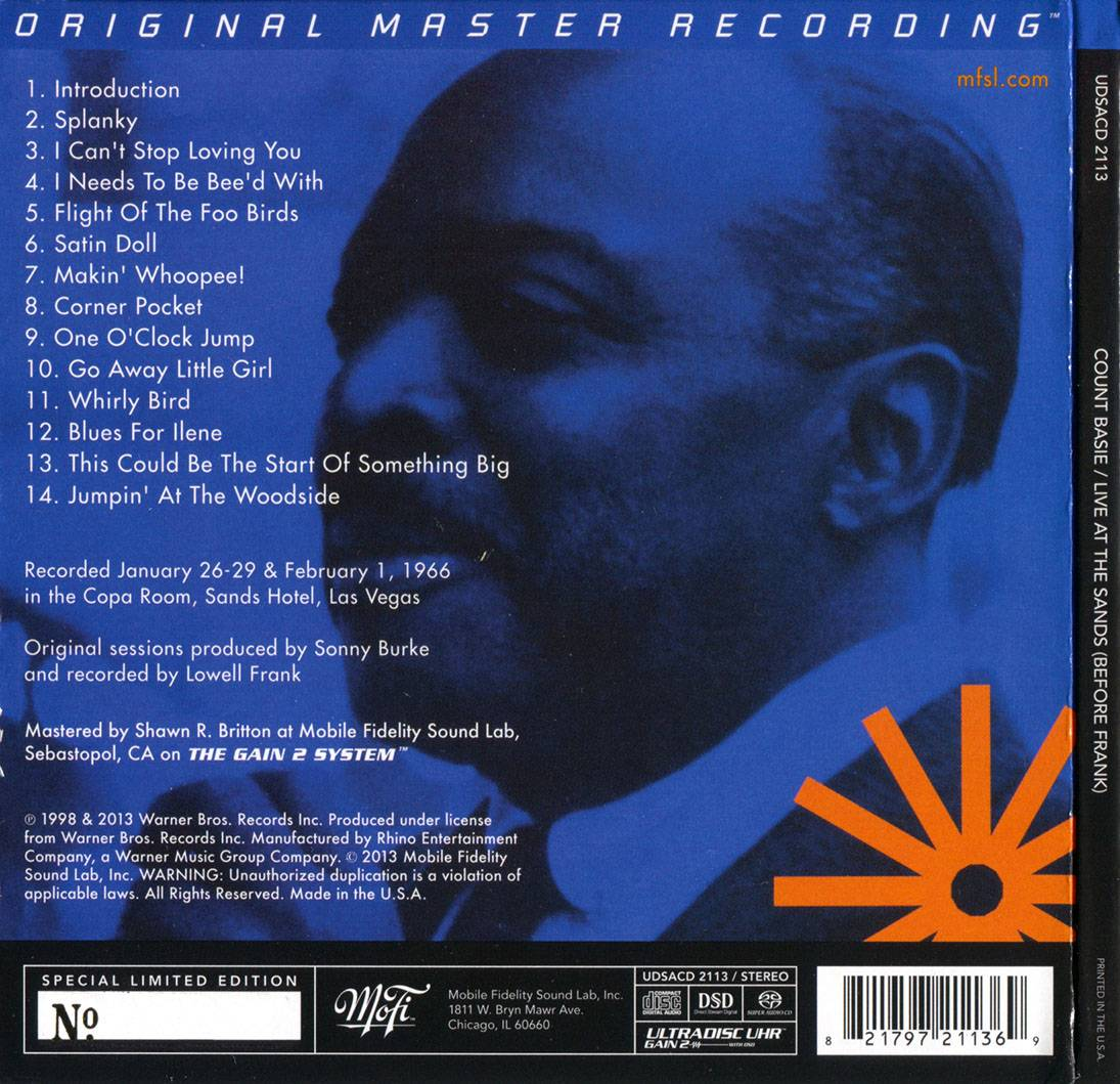 Count Basie - Live at the Sands 1966 (Before Frank) (1998) [MFSL Remastered 2013] Audio CD Layer
