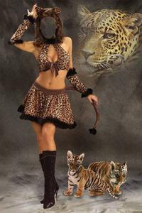 Leopard Girl - Template for Photoshop