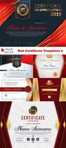 Vectors - Red Certificate Templates 6