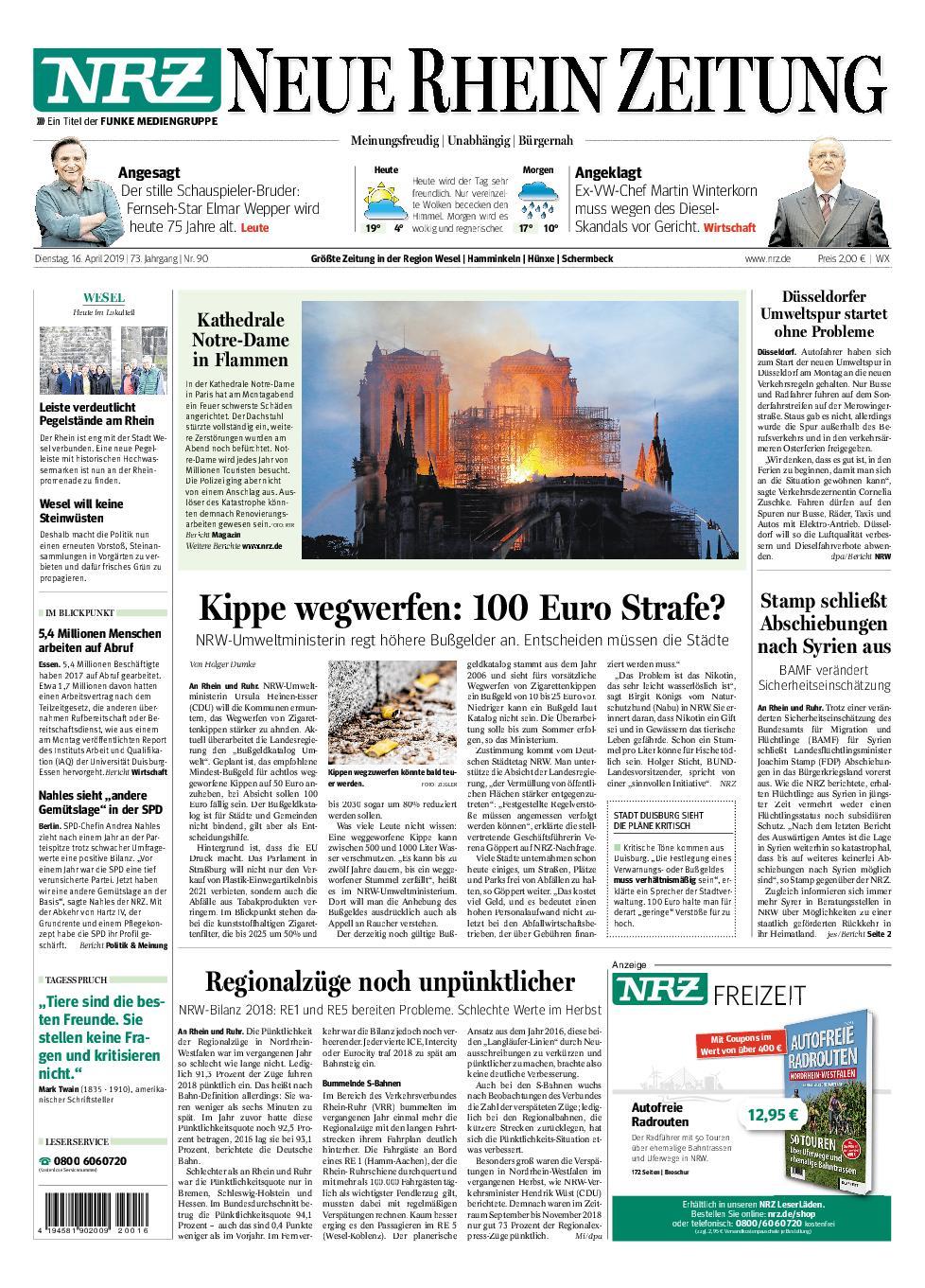 NRZ Neue Rhein Zeitung Wesel - 16. April 2019