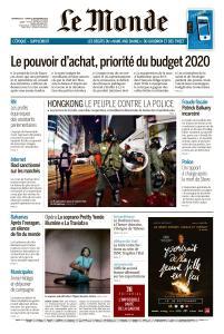 Le Monde du Dimanche 15 et Lundi 16 Septembre 2019