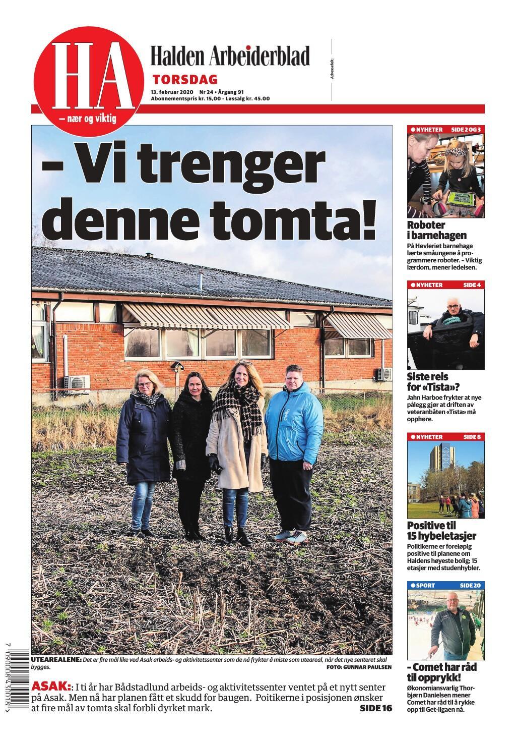 Halden Arbeiderblad – 13. februar 2020