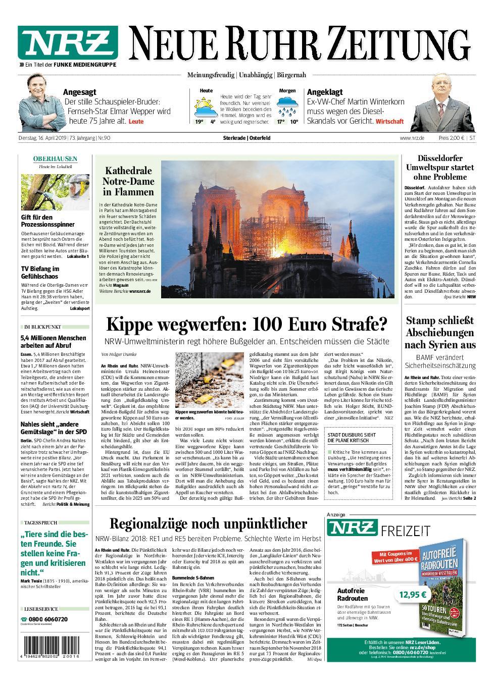NRZ Neue Ruhr Zeitung Oberhausen-Sterkrade - 16. April 2019
