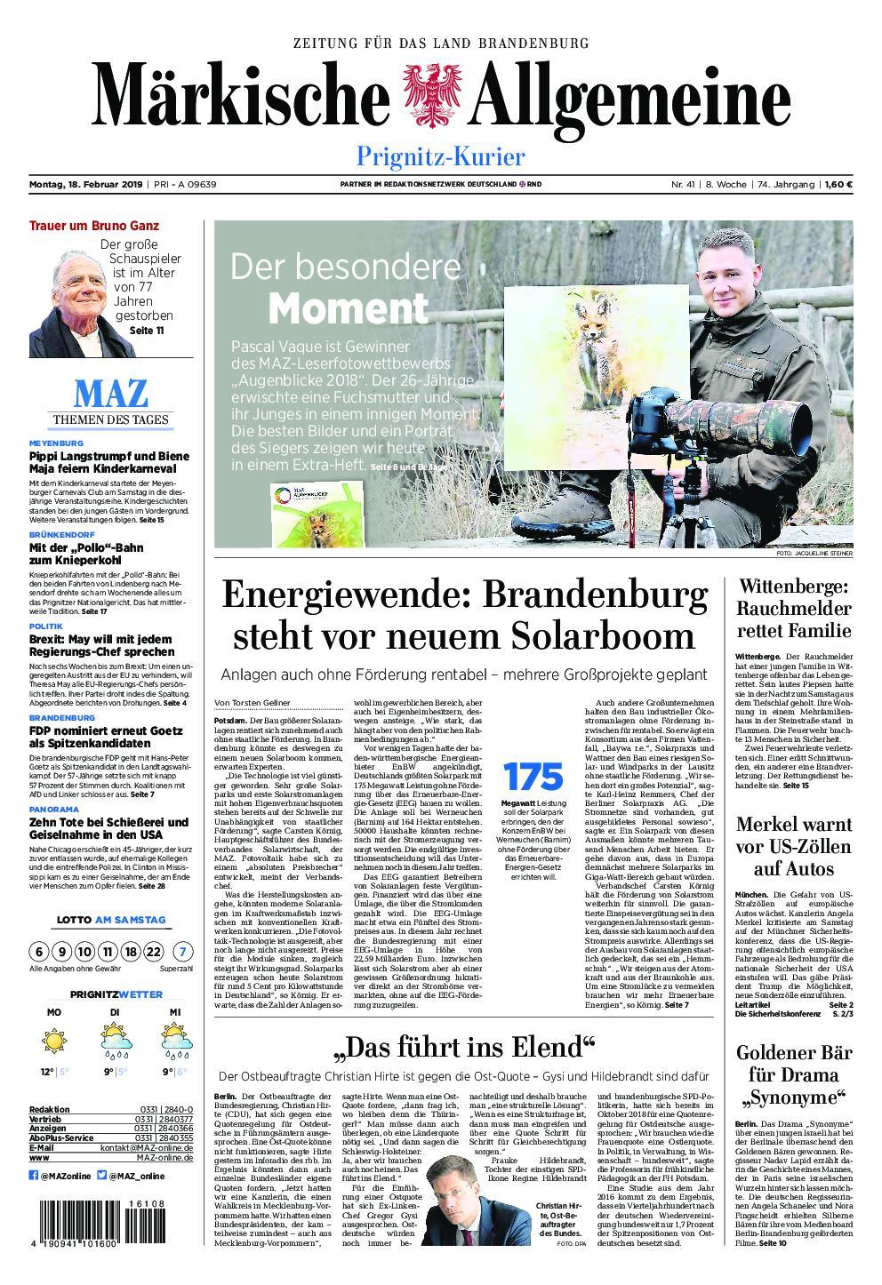 Märkische Allgemeine Prignitz Kurier - 18. Februar 2019