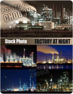 Stock Photo: Factory at night