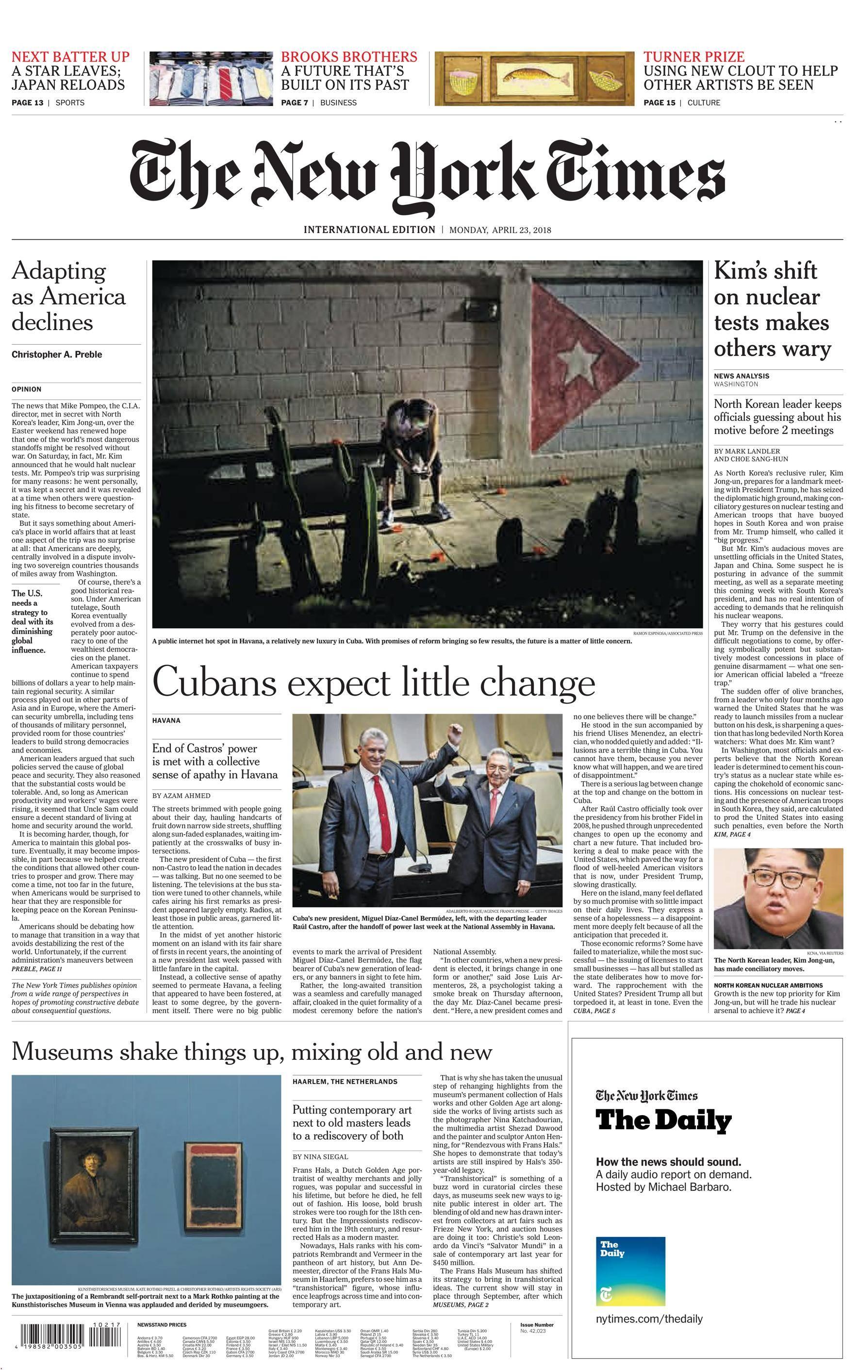 International New York Times - 23 April 2018
