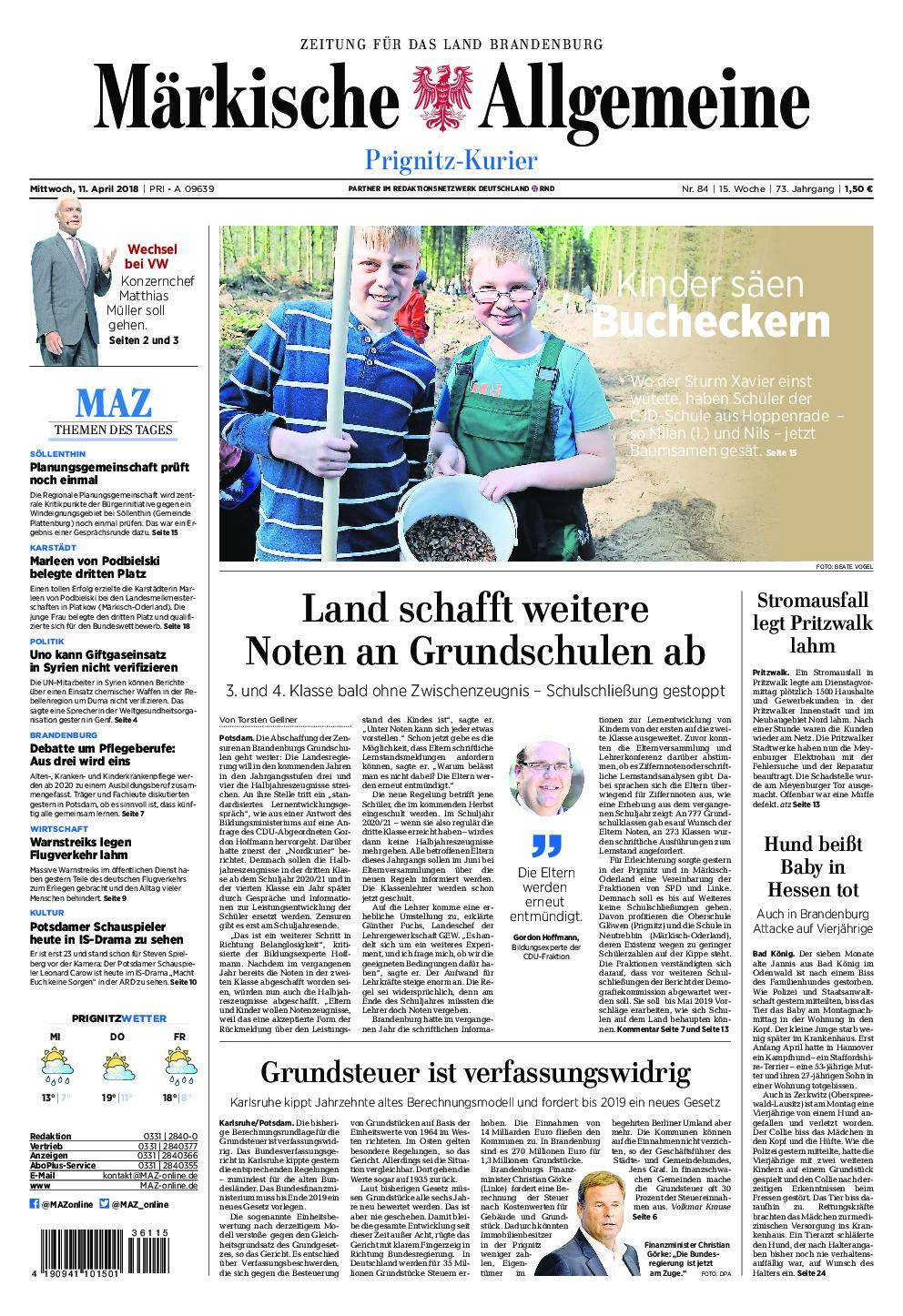 Märkische Allgemeine Prignitz Kurier - 11. April 2018