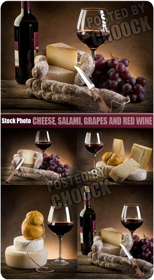 Stock Photo: Cheese, salami, grapes and red wine