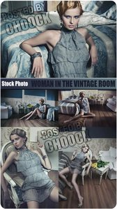 Stock Photo: Woman in the vintage room