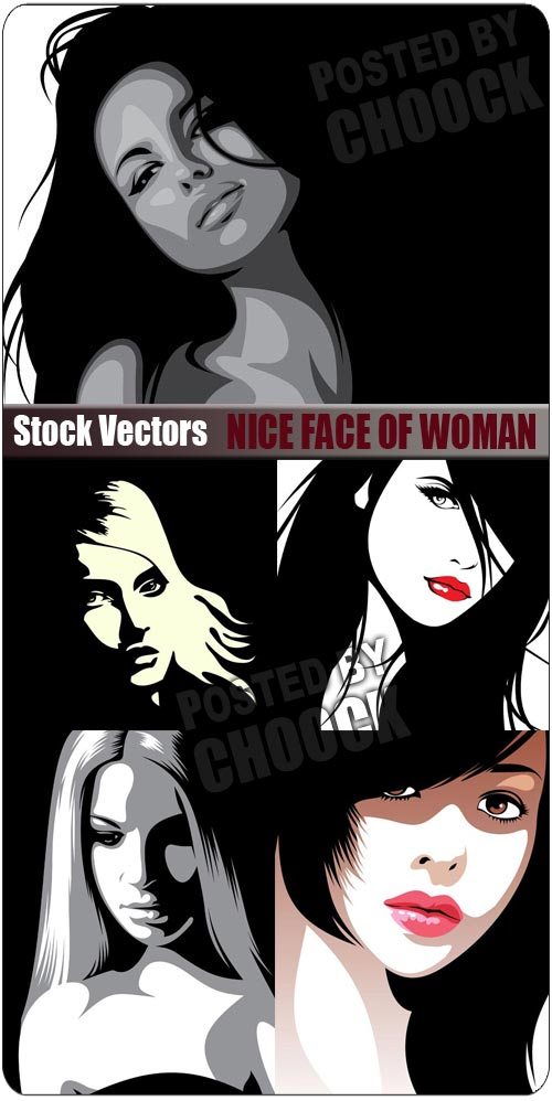 Stock Vector: Nice face of woman