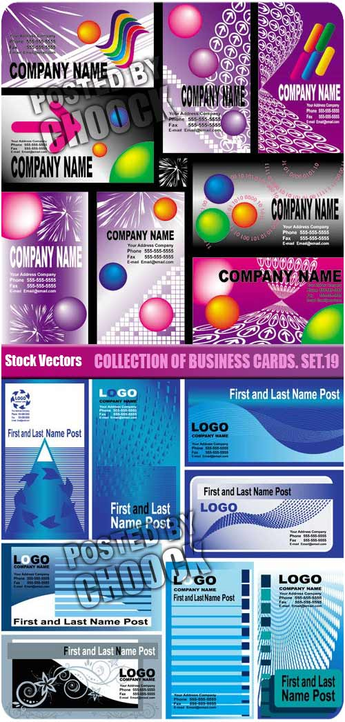 Stock Vector: Collection of business cards. Set.19