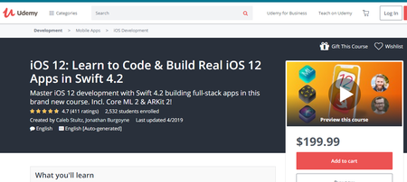 iOS 12: Learn to Code & Build Real iOS 12 Apps in Swift 4.2 (2019)