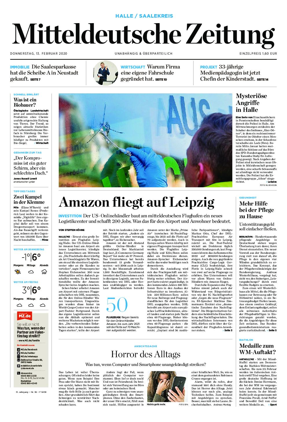 Mitteldeutsche Zeitung Zeitzer Zeitung – 13. Februar 2020