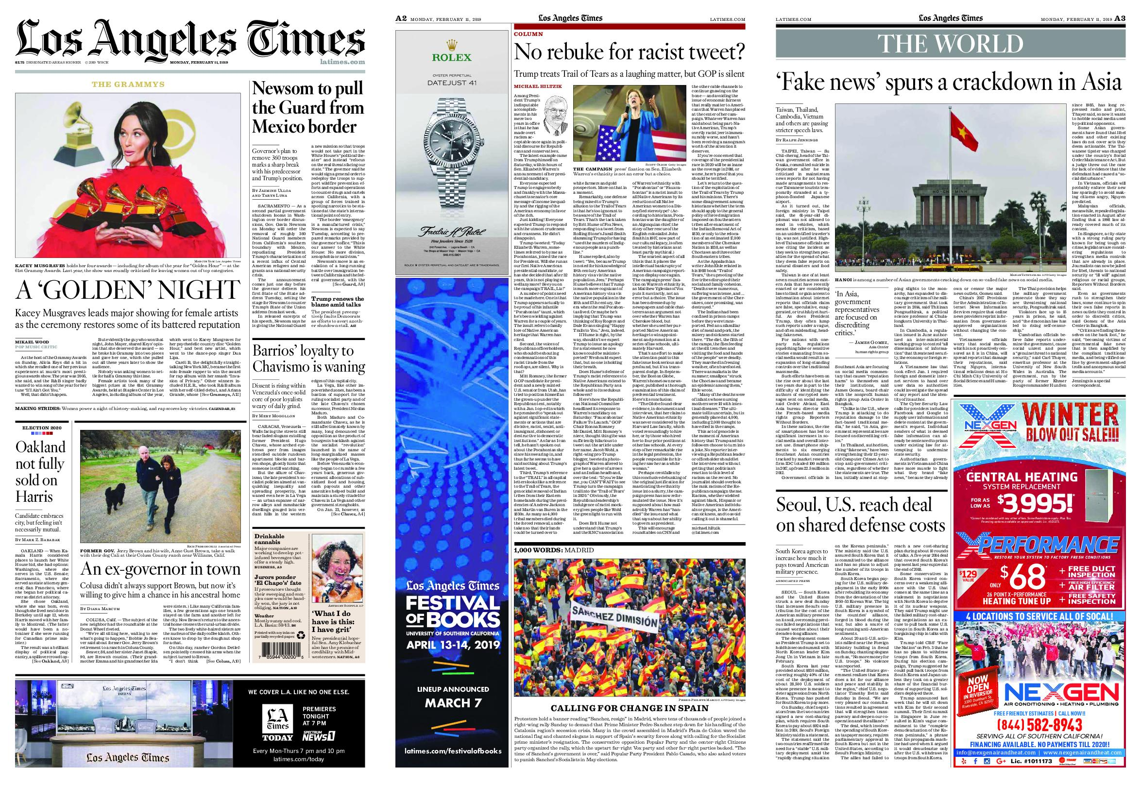 Los Angeles Times – February 11, 2019