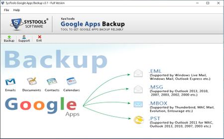 SysTools Google Apps Backup 3.1