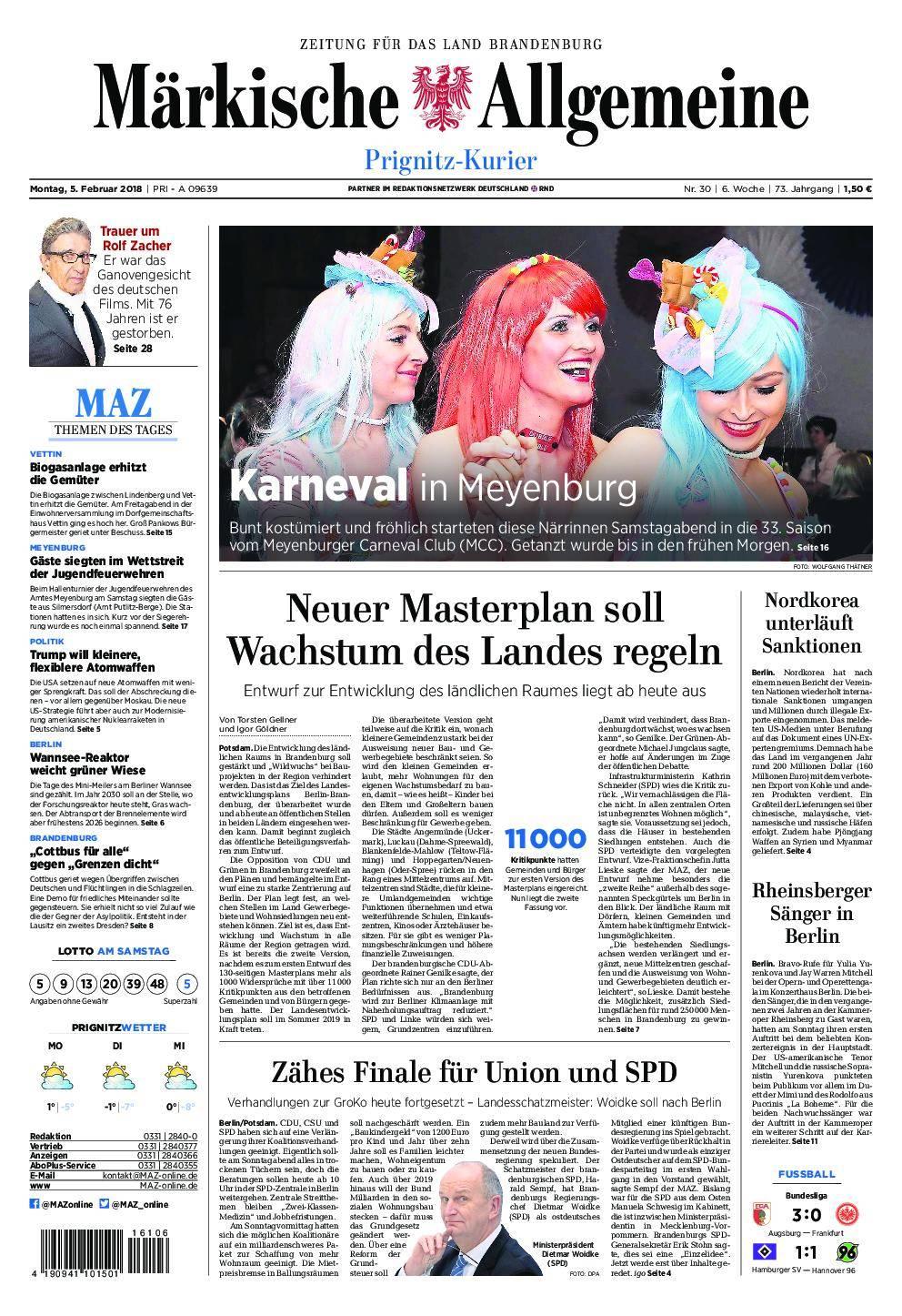 Märkische Allgemeine Prignitz Kurier - 05. Februar 2018