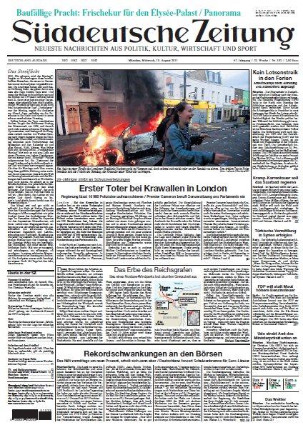 Süddeutsche Zeitung vom 10 August 2011