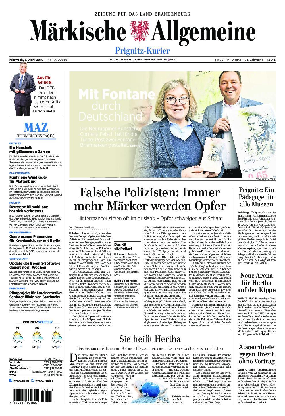 Märkische Allgemeine Prignitz Kurier - 03. April 2019