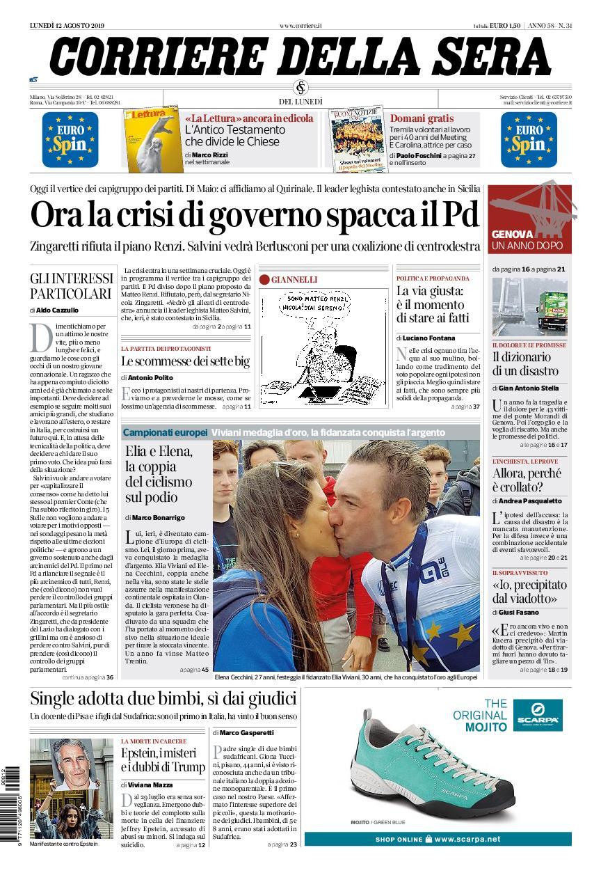 Corriere della Sera – 12 agosto 2019