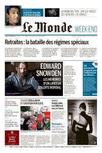 Le Monde du Samedi 14 Septembre 2019