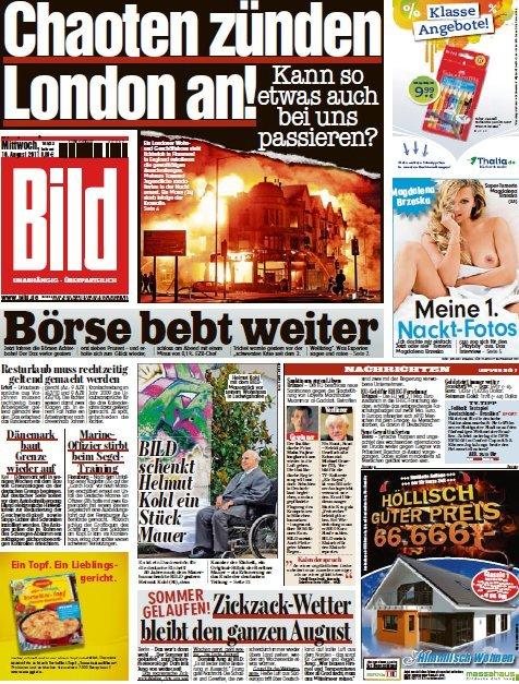 Bild Zeitung vom 10 August 2011