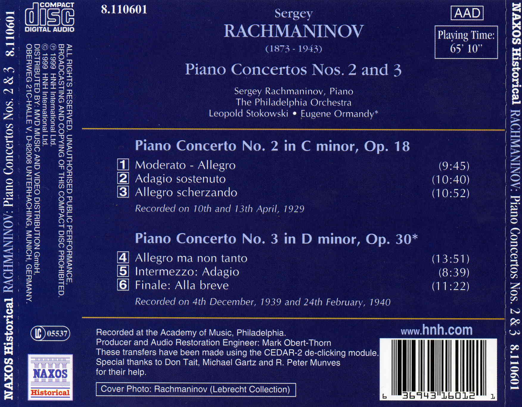 Rachmaninov - Piano Concertos Nos. 2 and 3/historical recordings/my rip MP3 LAME @320kbps/144.73 MB/covers front,back and bookl