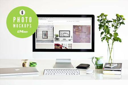 CreativeMarket - Green 6 iMac photo mockups