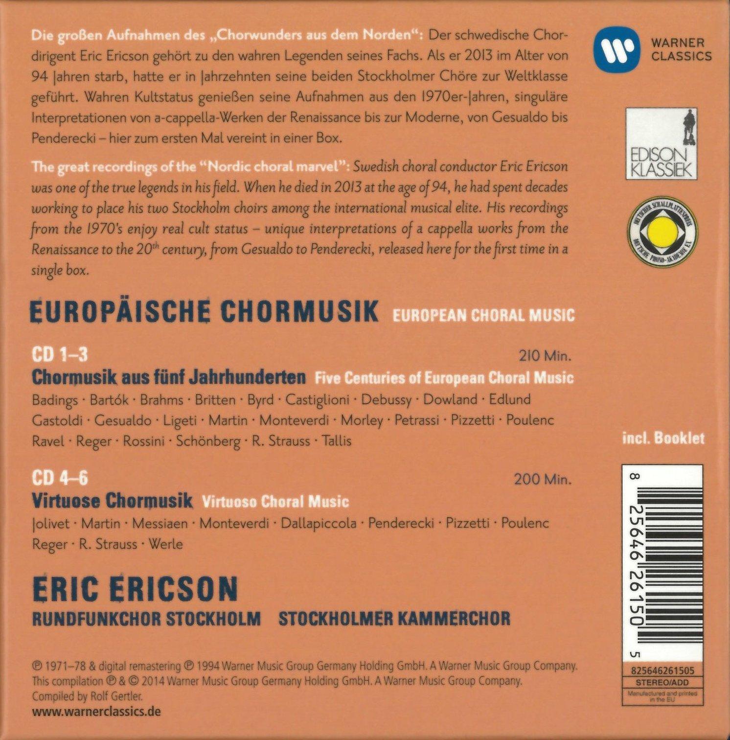 Eric Ericson, Rundfunkchor Stockholm, Stockholmer Kammerchor - European Choral Music (2014) 6CD Box Set