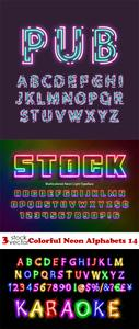 Vectors - Colorful Neon Alphabets 14