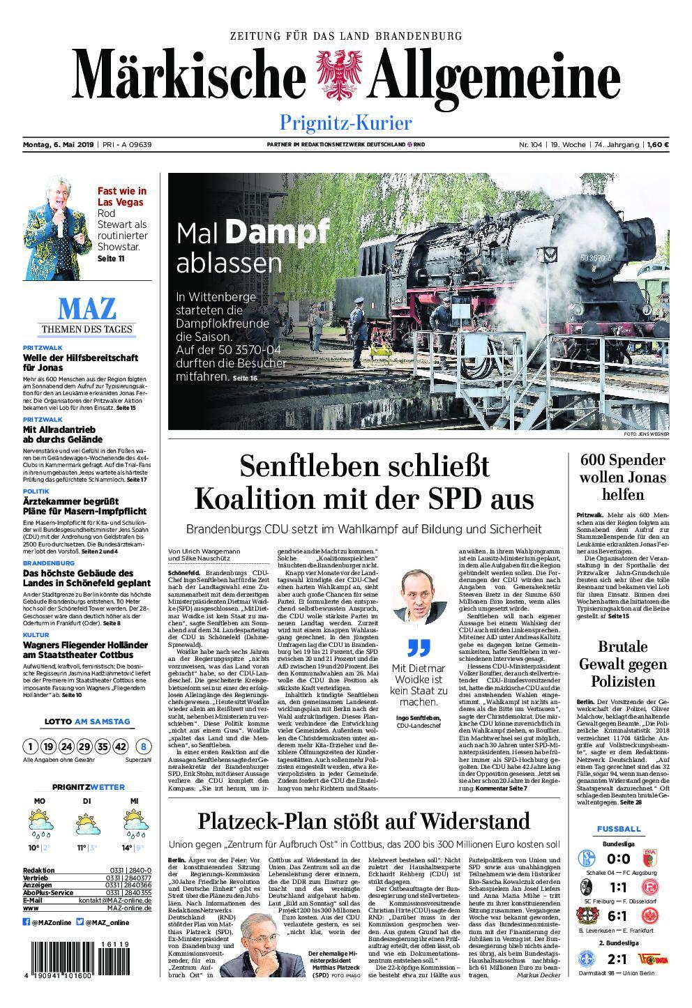 Märkische Allgemeine Prignitz Kurier - 06. Mai 2019