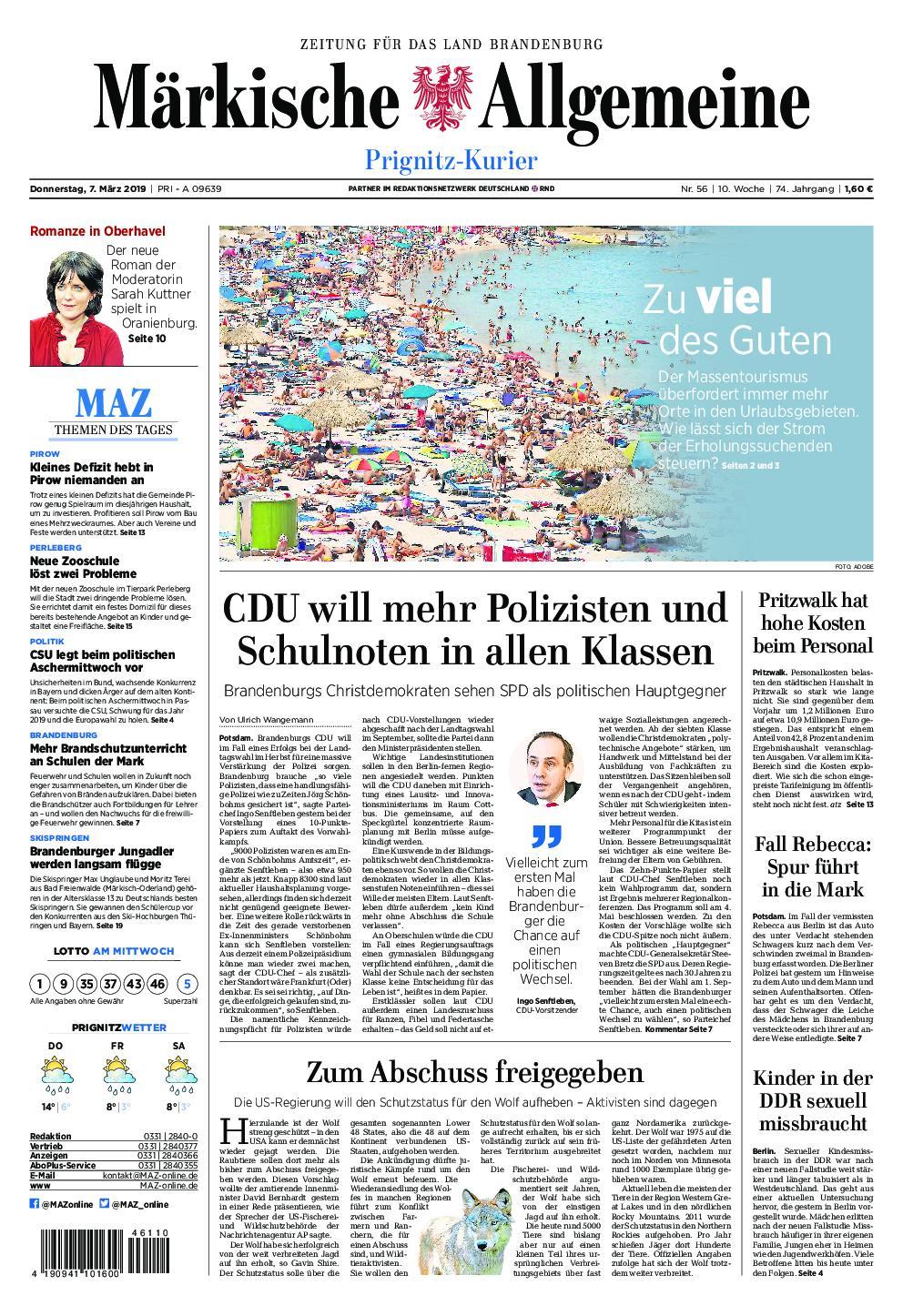 Märkische Allgemeine Prignitz Kurier - 07. März 2019